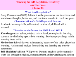 Teaching for Self-Regulation, Creativity and Tolerance Cluster 13 What is self regulation?