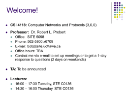 Welcome! CSI 4118: Professor: