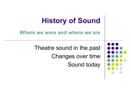 History of Sound Theatre sound in the past Changes over time Sound today