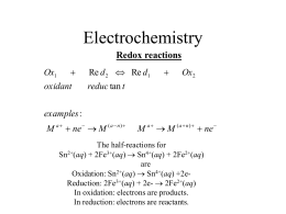 Electrochemistry Redox reactions  