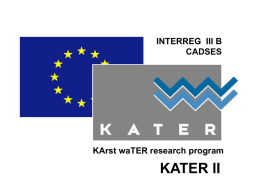 KATER II INTERREG  III B CADSES KArst waTER research program