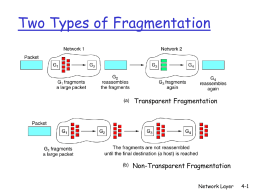 Two Types of Fragmentation Transparent Fragmentation Non-Transparent Fragmentation Network Layer