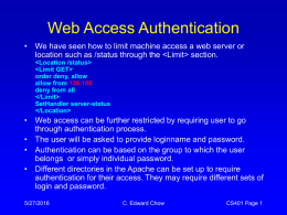Web Access Authentication