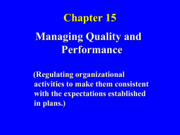Chapter 15 Managing Quality and Performance