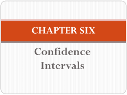 Confidence Intervals CHAPTER SIX