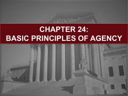 CHAPTER 24: BASIC PRINCIPLES OF AGENCY