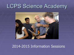 LCPS Science Academy Admission info session 2014-15