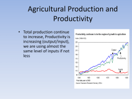 Agricultural Production characteristics