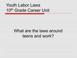 10th Grade Career/Labor Laws ppt. 10th Grade Career Unit.ppt