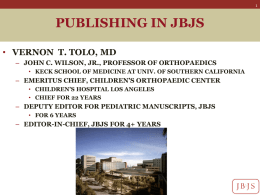 Publishing in the Journal of Bone and Joint Surgery.
