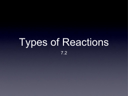 types of reactions and energy changes