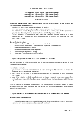 NOTICE : INFORMATION DU PATIENT Apocard Retard 100 mg