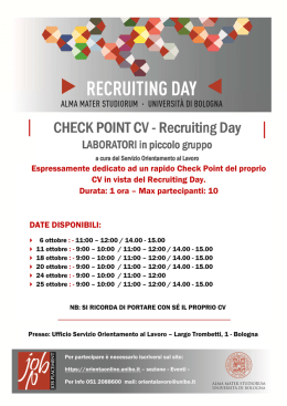Laboratori Check Point CV - Ottobre 2016