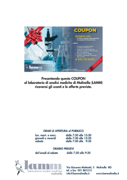 Presentando questo COUPON al laboratorio di analisi mediche di