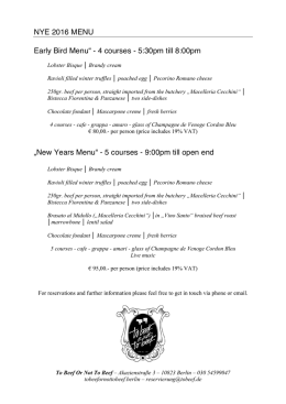 "NYE 2016 MENU Early Bird Menu"" - 4 courses"