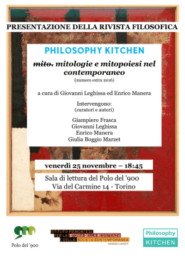 25 novembre - Philosophy Kitchen