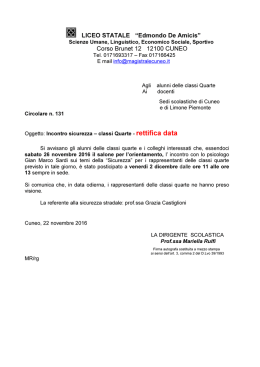 Corso Brunet 12 12100 CUNEO - Istituto Magistrale Statale