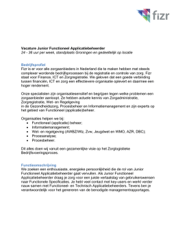 Junior Functioneel Applicatiebeheerder