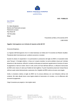 Letter from the ECB President to Mr Borghezio, MEP, on