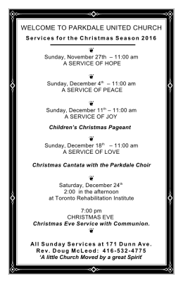 Christmas Services - parkdale united church