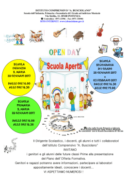 OPEN DAY infanzia primarie e media sede centrale