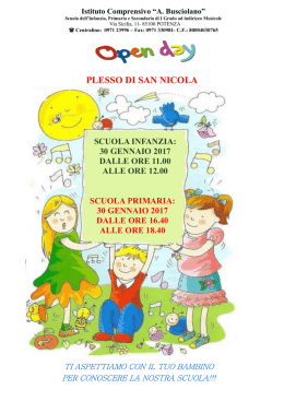 CALENDARIO open day SAN NICOLA