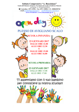 CALENDARIO open day AVIGLIANO
