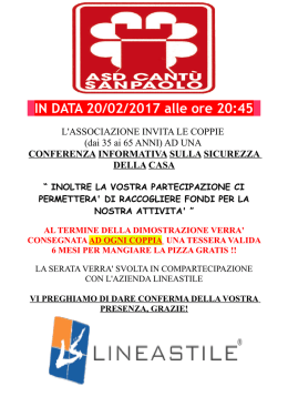 IN DATA 20/02/2017 alle ore 20:45