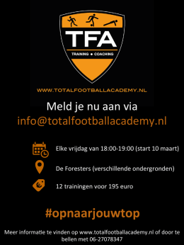 Voorjaar 2017 TFA - Total Football Academy