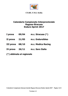 2017 Calendario Campionato Interprovinciale Enduro