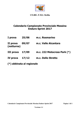 Calendario Campionato Provinciale Messina Enduro
