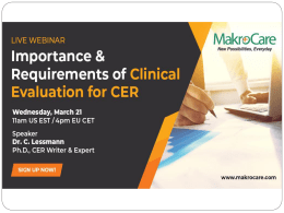 Webinar on Importance & Requirements of Clinical Evaluation for CER
