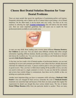 Choose Best Dental Solution Houston for Your Dental Problems