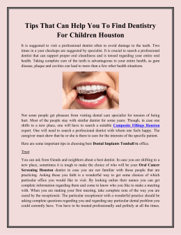 Tips That Can Help You To Find Dentistry For Children Houston